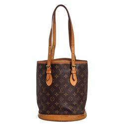 Louis Vuitton Monogram Canvas Leather Petit Bucket PM Bag