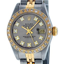 Rolex Ladies 2 Tone 14K Slate Grey VS Diamond Datejust Wristwatch