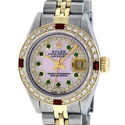 Rolex Ladies 2 Tone 14K Pink MOP Emerald & Ruby Datejust Wriswatch
