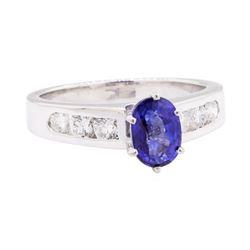 1.23 ctw Sapphire and Diamond Ring - 14KT White Gold