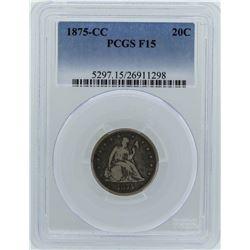 1875-CC Seated Liberty Twenty Cent Piece Coin PCGS F15