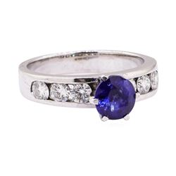 1.55 ctw Blue Sapphire And Diamond Ring - 14KT White Gold