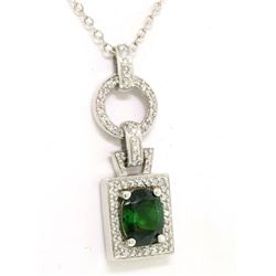 14K White Gold 3.56 ctw Green Tourmaline & Diamond FINE Fancy Pendant Necklace