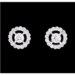 0.80 ctw Diamond Halo Earrings - 14KT White Gold