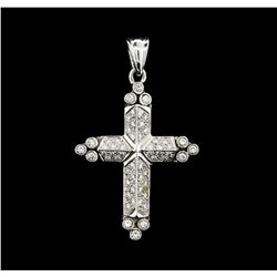 0.80 ctw Diamond Cross Pendant - 14KT White Gold