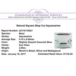 2.99 ct.Natural Square Step Cut Aquamarine