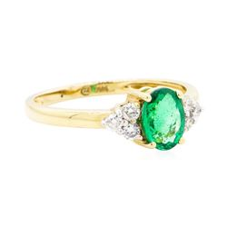 1.08 ctw Emerald And Diamond Ring - 14KT Yellow Gold