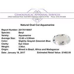 3.90 ct.Natural Oval Cut Aquamarine