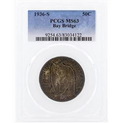1936-S San Francisco - Oakland Bay Bridge Opening Half Dollar Coin PCGS MS63