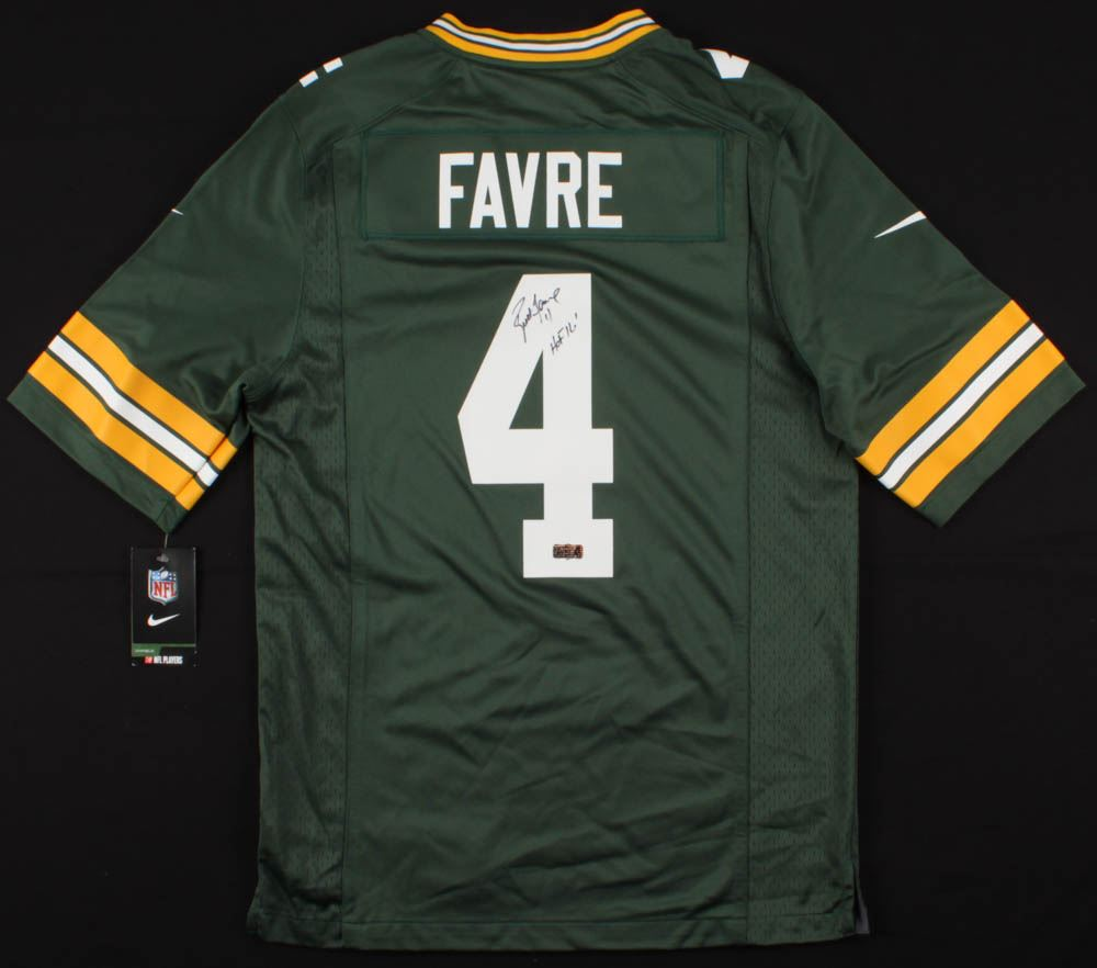 detailed look 83c81 20e13 Brett Favre Signed Green Bay Packers Jersey Inscribed