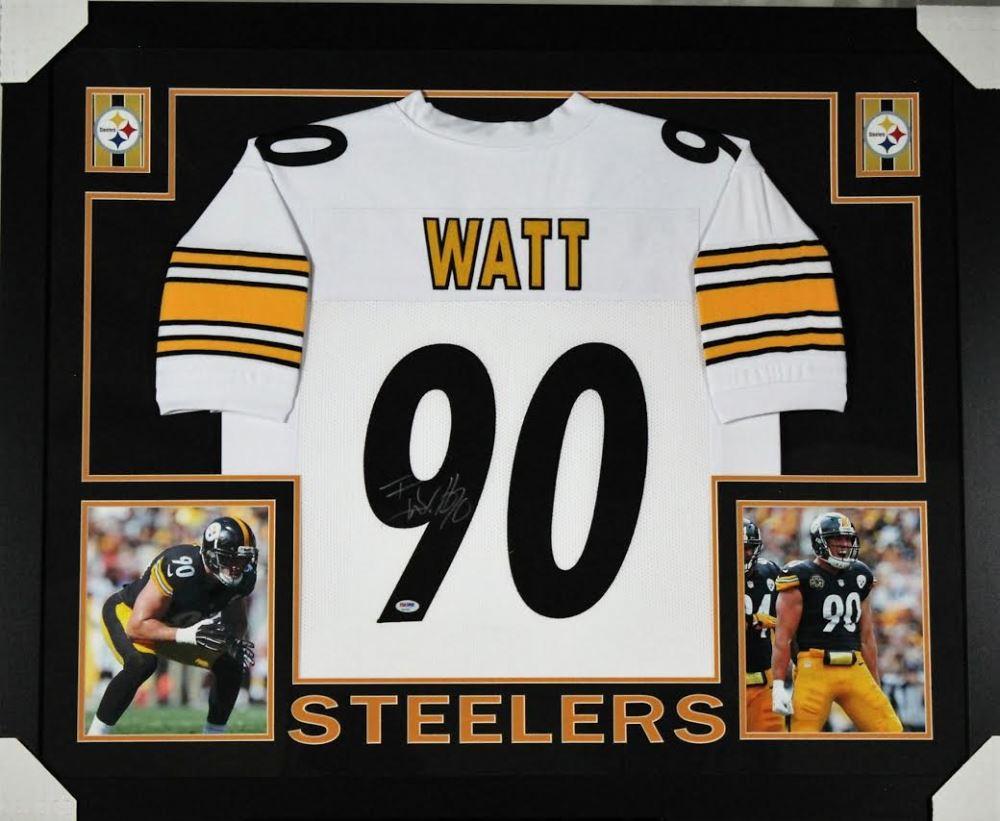sports shoes 88d6b 0a126 T. J. Watt Signed Pittsburgh Steelers 35x43 Custom Framed ...