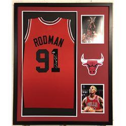 Dennis Rodman Signed Chicago Bulls 34x42 Custom Framed