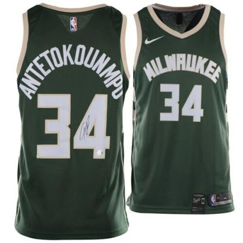 detailing 7ca70 9615c Giannis Antetokounmpo Signed Milwaukee Bucks Nike Jersey ...