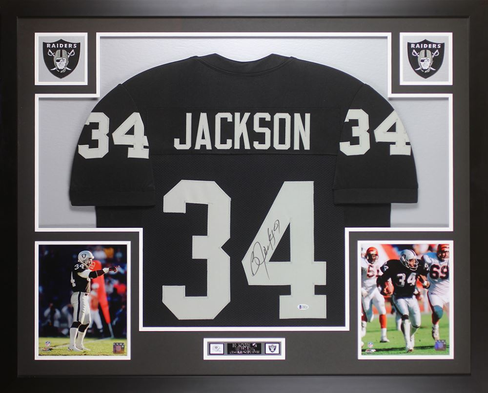 outlet store 2aded d448b Bo Jackson Signed Oakland Raiders 35x43 Custom Framed Jersey ...