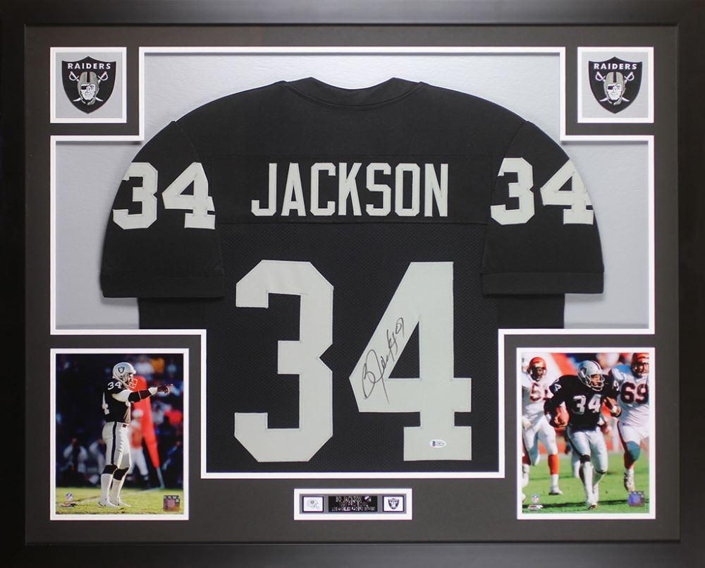 outlet store 1f995 93668 Bo Jackson Signed Oakland Raiders 35x43 Custom Framed Jersey ...