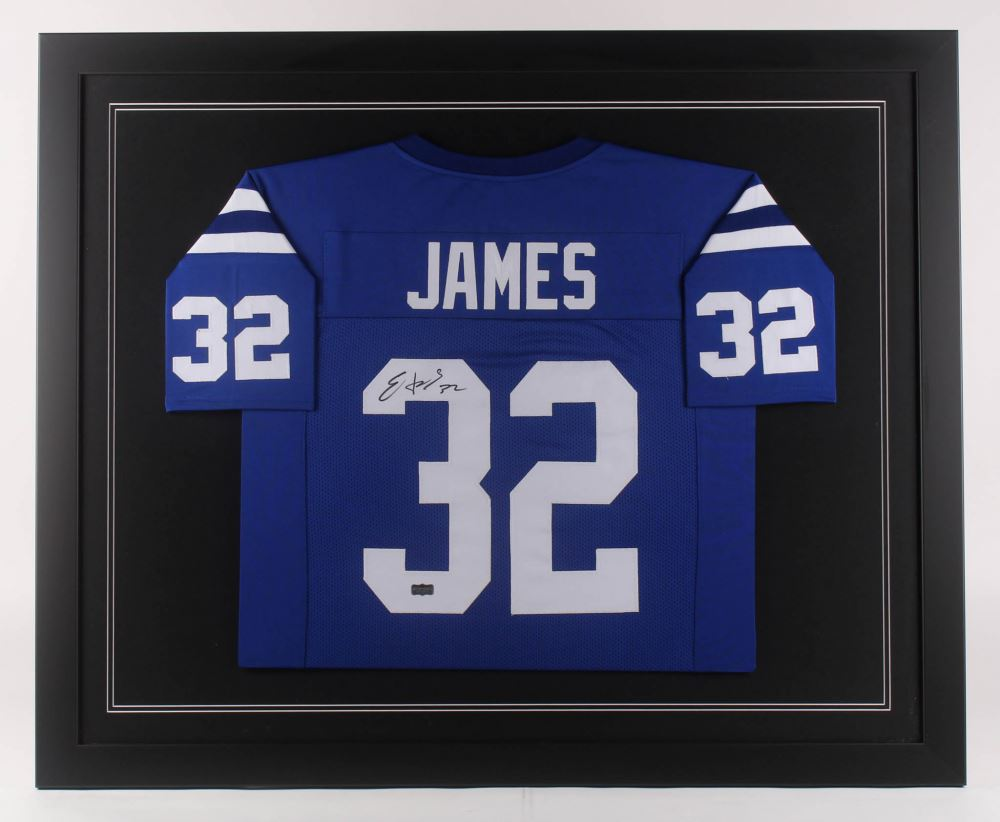 new style 00f12 dd3eb Edgerrin James Signed Indianapolis Colts 35.5x43.5 Custom ...