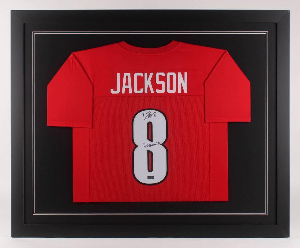 brand new 1fc09 e09b0 Lamar Jackson Signed Louisville Cardinals 35.5x43.5 Custom ...