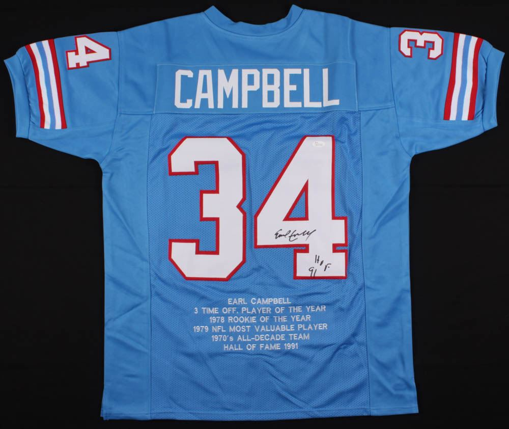 huge selection of 3fc50 0aca7 Earl Campbell Signed Houston Oilers Career Highlight Stat ...