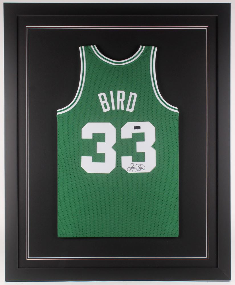 promo code 42806 2b6a8 Larry Bird Signed Boston Celtics 35x43 Custom Framed Jersey