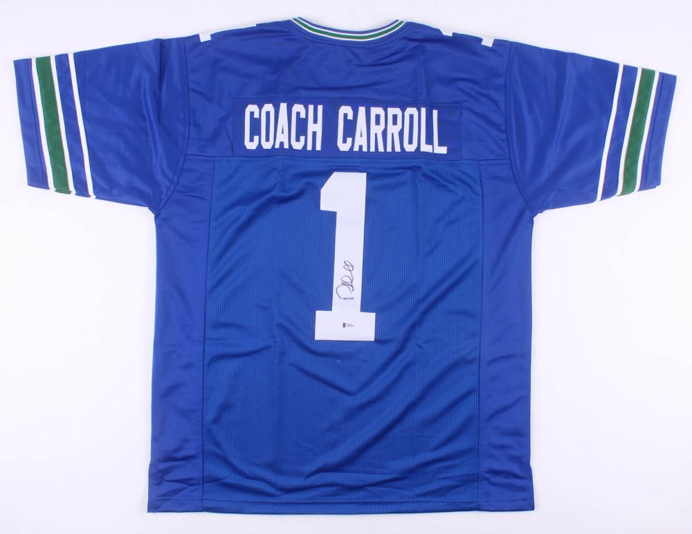 online retailer 7d093 05bbe Pete Carroll Signed Seattle Seahawks Throwback Jersey ...