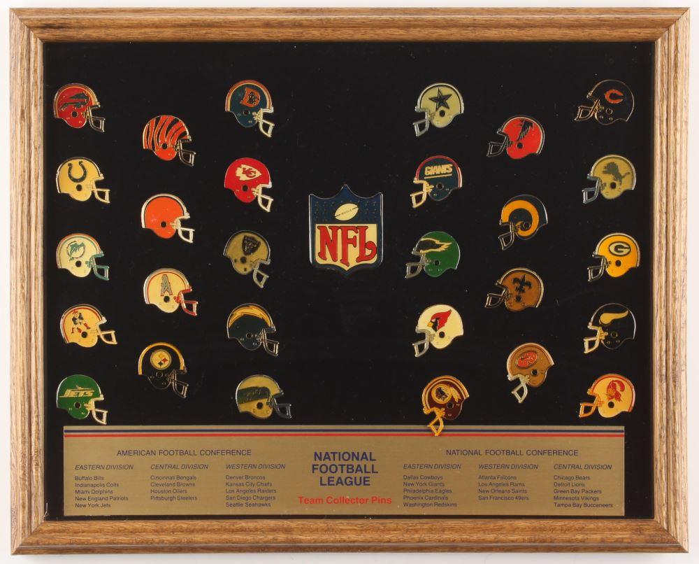 Vintage NFL Collectors 12x15 Custom Framed Pin Set Display