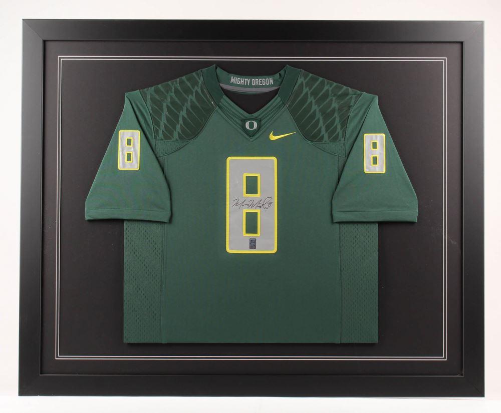 huge selection of b2784 8fe2f Marcus Mariota Signed Oregon Ducks 35x43 Custom Framed ...