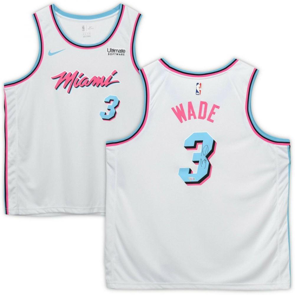 premium selection ecf7b a99d8 Dwyane Wade Signed Miami Heat White Vice Jersey ...
