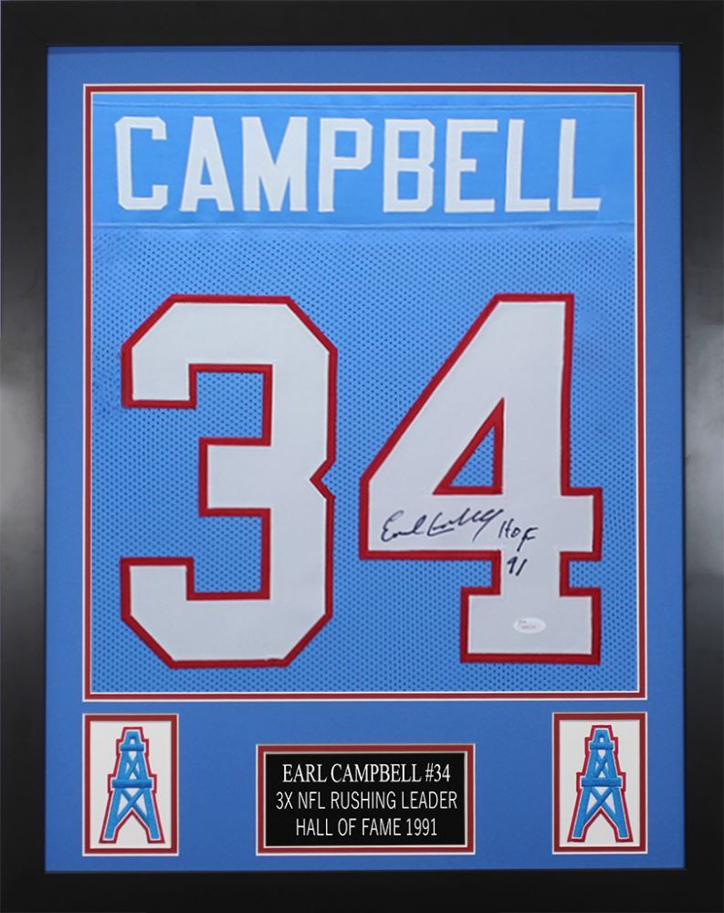 free shipping f2df0 d5ec8 Earl Campbell Signed Houston Oilers 24x30 Custom Framed ...