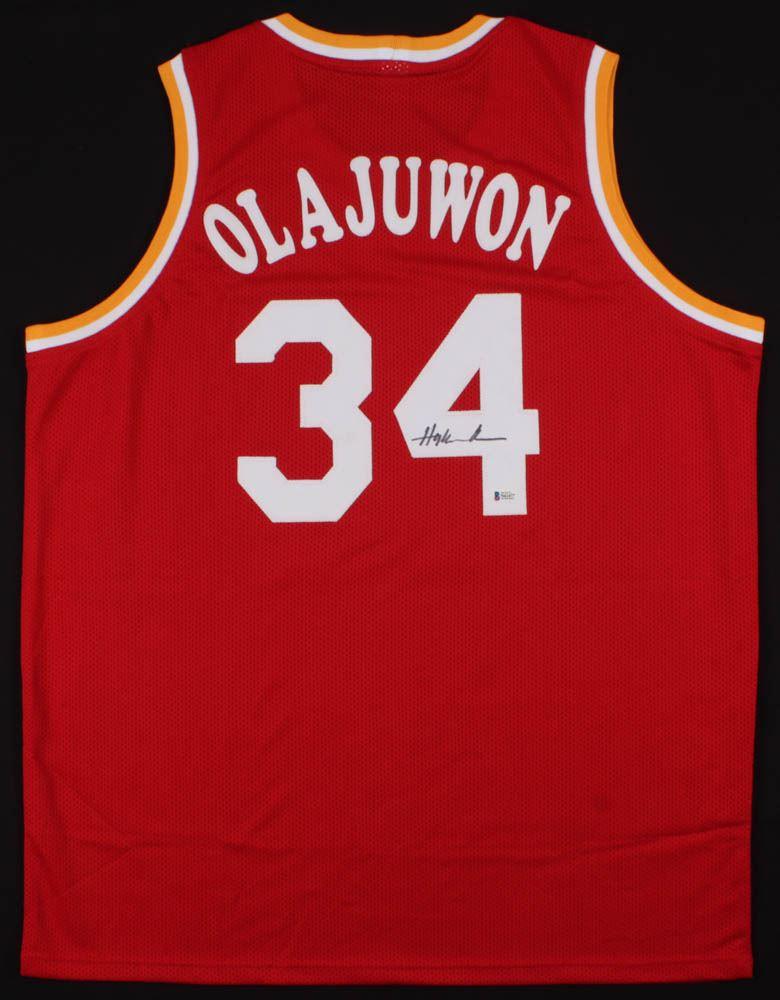 sports shoes c516b 0c78b Hakeem Olajuwon Signed Houston Rockets