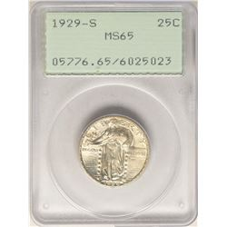 1929-S Standing Liberty Quarter Coin PCGS MS65 Old Green Rattler