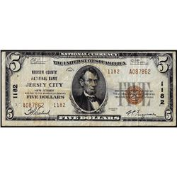 1929 $5 Hudson County NB Jersey City, NJ CH# 1182 National Currency Note