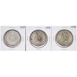 Lot of (3) 1948 Mexico Cinco Pesos Silver Coins