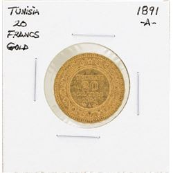 1891-A Tunisia 20 Francs Gold Coin