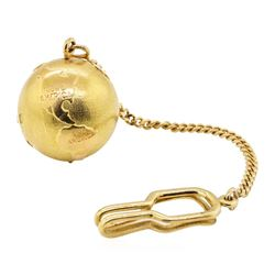 14KT Yellow Gold Key Fob with Attached 18KT Yellow Gold Globe