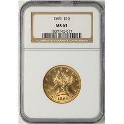 1894 $10 Liberty Head Eagle Gold Coin NGC MS63