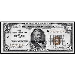 1929 $50 Federal Reserve Note Cleveland