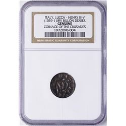 Coinage of the Crusades 1139-1339 Italy Genoa Conrad III Billion Denier NGC Genu