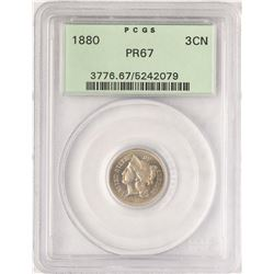 1880 Proof Three Cent Nickel Coin PCGS PR67 Old Green Holder