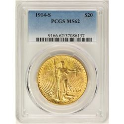 1914-S $20 St. Gaudens Double Eagle Gold Coin PCGS MS62