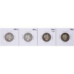 Lot of (4) 1892-1895 Barber Quarter Coins
