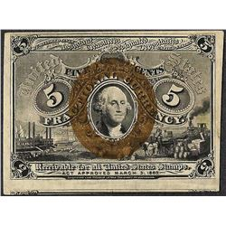 1863 Five Cents Second Issue Fractional Currency Note
