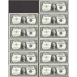 Lot of (11) Consecutive 1957B $1 Silver Certificate Notes