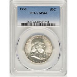 1958 Franklin Half Dollar Coin PCGS MS64