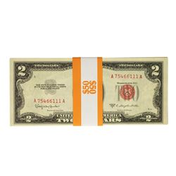 Lot of (25) Consecutive Uncirculated 1953C $2 Legal Tender Notes