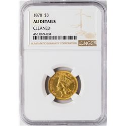 1878 $3 Indian Princess Head Gold Coin NGC AU Details