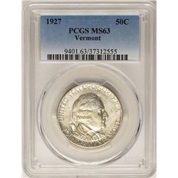 1927 Vermont Commemorative Half Dollar Coin PCGS MS63