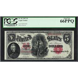 1907 $5 Woodchopper Legal Tender Note Fr.85 PCGS Gem New 66PPQ