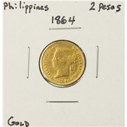 1864 Philippines 2 Pesos Gold Coin
