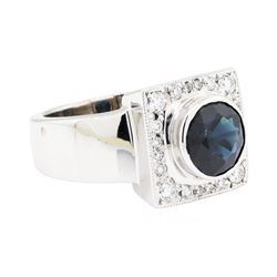 14KT White Gold 2.96 ctw Sapphire and Diamond Ring