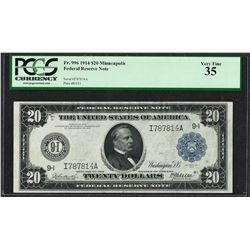 1914 $20 Federal Reserve Note Minneapolis Fr.996 PCGS Very Fine 35